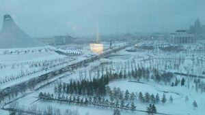 عکس/ پاییز برفی پایتخت قزاقستان با دمای ۲۵ درجه زیر صفر