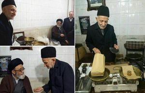 عکس/ حضور امام جمعه تبریز در مغازه پیرمرد چای فروش