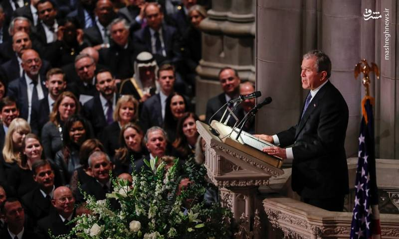 عکس/ حضور اوباما و ترامپ در مراسم خاکسپاری بوش