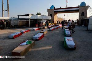 ورود پیکر ۷۲ شهید تازه تفحص شده به کشور- شلمچه