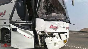 تصادف اتوبوس و مینیبوس در جاده قم تهران