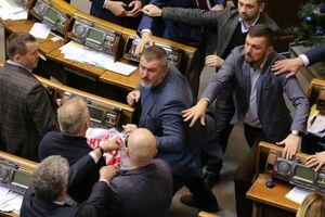 عکس/ درگیری نمایندگان پارلمان اوکراین