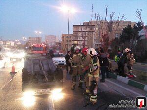 عکس/ واژگونی خودرو سواری در تهرانسر