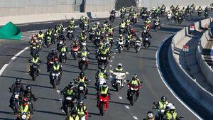 عکس/ رژه موتورسواران جلیقه زرد
