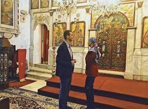 بشار اسد و همسرش در کلیسای طرطوس