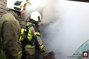 مهار آتش سوزی در تالار پذیرایی