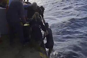 فیلم/ لحظه نجات مهاجر غیرقانونی در دریا!