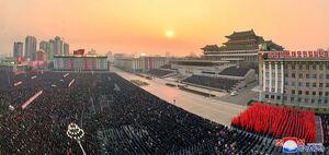 عکس/ تجمع مردم کره شمالی در حمایت از «اون»