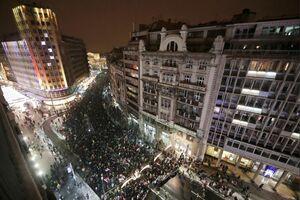 عکس/ بلگراد عرصه تظاهرات مردمی علیه دولت