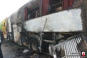 عکس/ آتشسوزی اتوبوس مسافربری در کرج