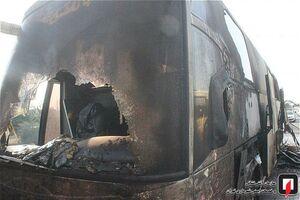 آتش سوزی اتوبوس مسافربری در کرج