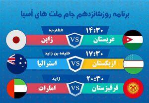 عکس/ برنامه مسابقات امروز جام ملتهای آسیا