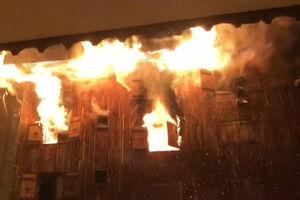 فیلم/ آتشسوزی مرگبار در پیست اسکی در فرانسه