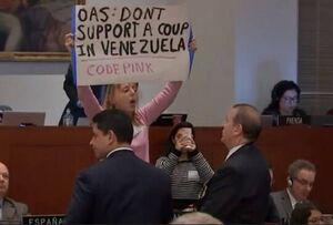 فعال ضد جنگ، سخنرانی «پامپئو» را به هم ریخت +فیلم