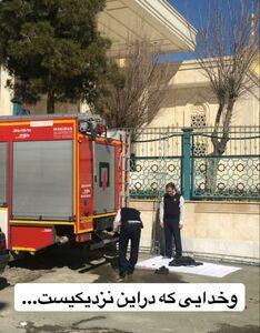 عکس/ نماز اول وقت یک آتش نشان