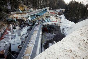 عکس/ واژگونی قطار از روی یک پل