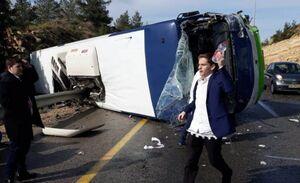 عکس/ واژگونی خونین اتوبوس حامل صهیونیستها