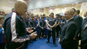 حضور پوتین در اردوی تیم ملی کشتی روسیه