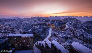 عکس/ نمای برفی زیبا دیوار چین