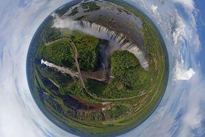 تصویر هوایی 360درجه از آبشار ویکتوریا