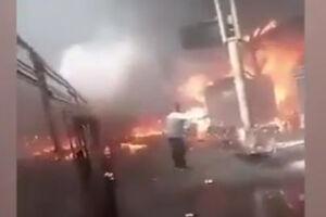 فیلم/ آتش سوزی وحشتناک در قاهره