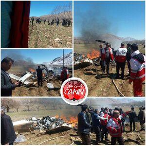 اولین تصاویر از سقوط بالگرد اورژانس در شهرکرد