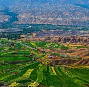 نمایی زیبا از مزارع سرسبز زنجان