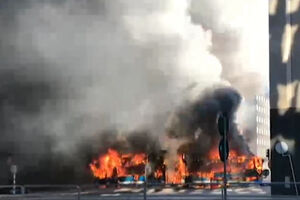 اولین تصاویر از انفجار اتوبوس در سوئد