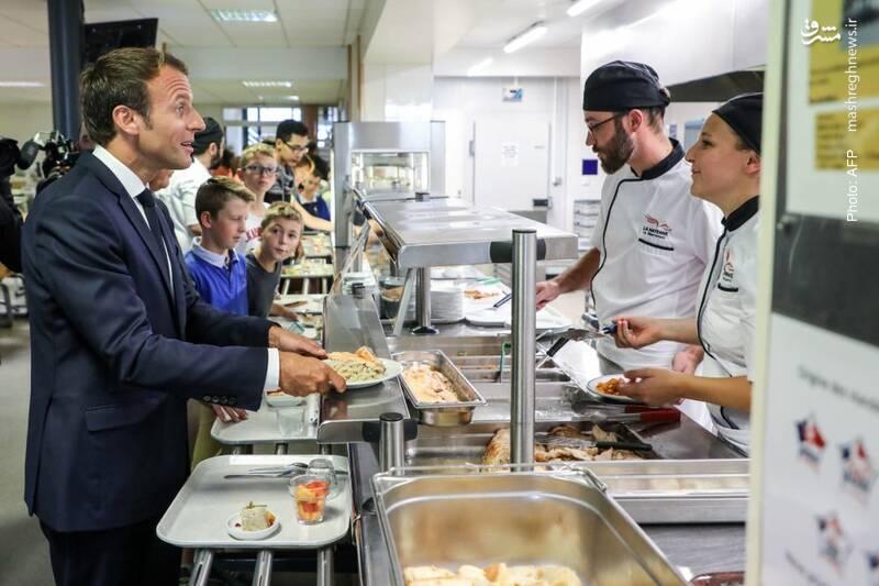 شرکت رئیسجمهور فرانسه در نهار یک مدرسه راهنمایی در غرب فرانسه
