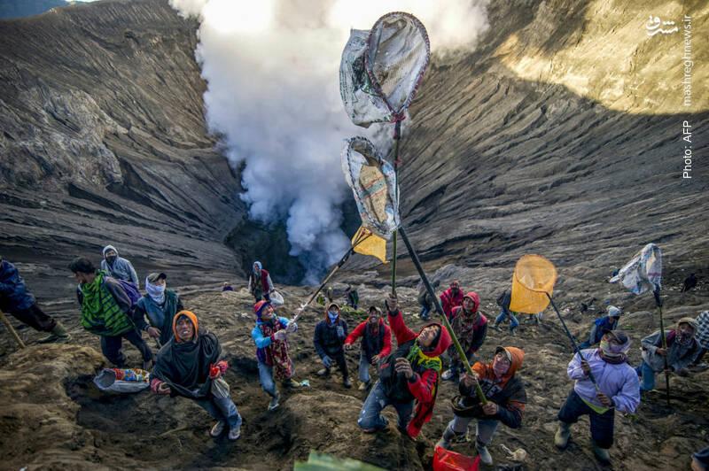 شکار هدایای قبیله تِنگر در دهانه آتشفشان جاوه بر اساس رسم قدیمی هندوها