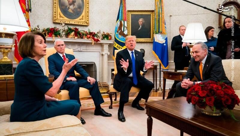 گفتگوی ترامپ رئیسجمهور آمریکا با چاک شومر و نانسی پلوسی رهبر دموکراتهای سنا و مجلس نمایندگان پیرامون سیاستهای مرزی و بودجه دولت فدرال که بینتیجه ماند و طولانیترین تعطیلی تاریخ دولت فدرال رقم خورد.
