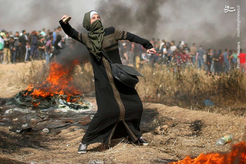 مشارکت زن فلسطینی در اعتراضات مردم غزه به اشغال اراضی از سوی رژیم صهیونیستی
