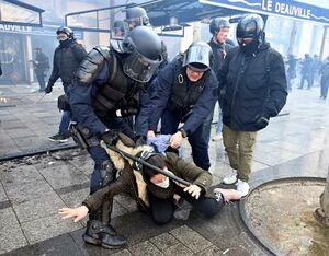 عکس/ حمله پلیس فرانسه به یک زن