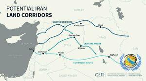 مسیرهای سه گانه زمینی از ایران به سمت دریای مدیترانه
