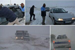 خدماترسانی ۱۰۰ نیروی ارتش به مسافران در برف مانده