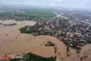 تصاویر هوایی سیل و آبگرفتگی در گنبد کاووس