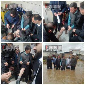 مصدومیت جزئی«فتاح» رییس کمیته امداد امام خمینی(ره) در بازدید از مردم سیل زده گلستان
