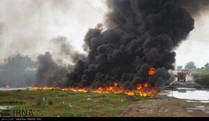 عکس/ انفجار خط لوله انتقال بنزین در شوش