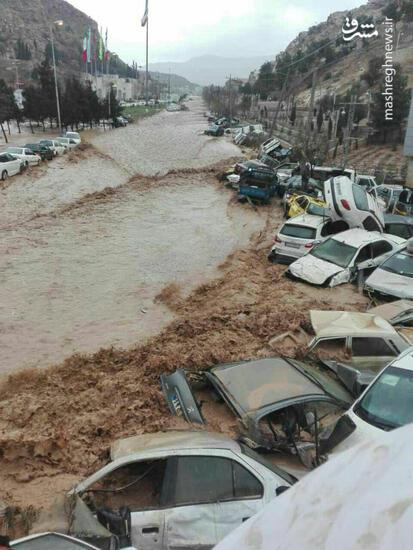 تصویری وحشتناک از سیل در شیراز