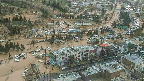 عکس هوایی از شهر سیلزده شیراز