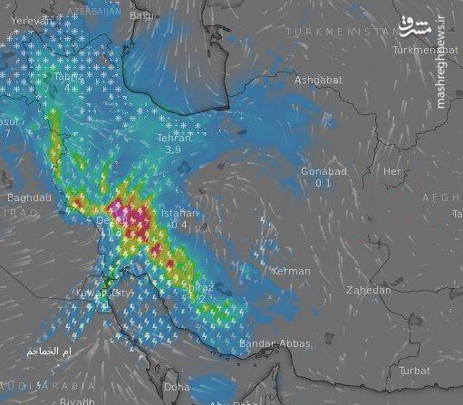 تصویر ماهوارهای از وضعیت هوای امروز ایران