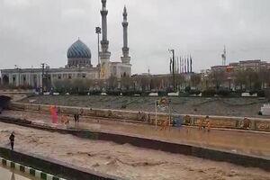فیلم/ زیرگذر حرم حضرت معصومه(س)بعد از سیلاب