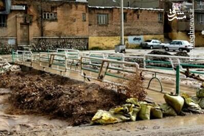 عکس/ طغیان رودخانه و آبگرفتگی در خرم آباد