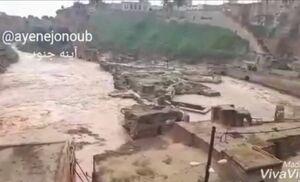 فیلم/ سیلاب در سازههای ۴۰۰۰ ساله شوشتر