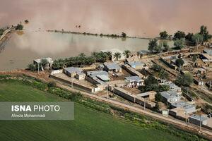 تصاویر هوایی از مناطق سیل زده رودخانههای کرخه و کارون