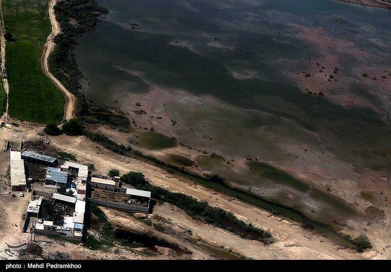 تصاویر هوایی از مناطق سیل زده در اطراف رودخانه کارون