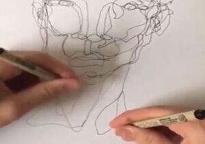فیلم/ نقاشی کشیدن همزمان با هر دو دست