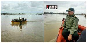 ورود «سرلشکر جعفری» با قایق به منطقه محاصره در سیلاب گمیشان