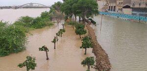 فیلم/ پیشروی آب رودخانه کارون در شهر اهواز