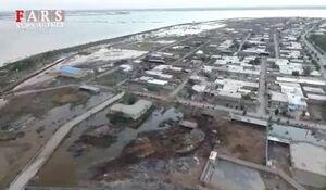 فیلم هوایی از شهر رفیع در محاصره سیلاب
